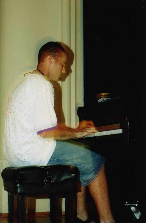 playing piano in the college talent show