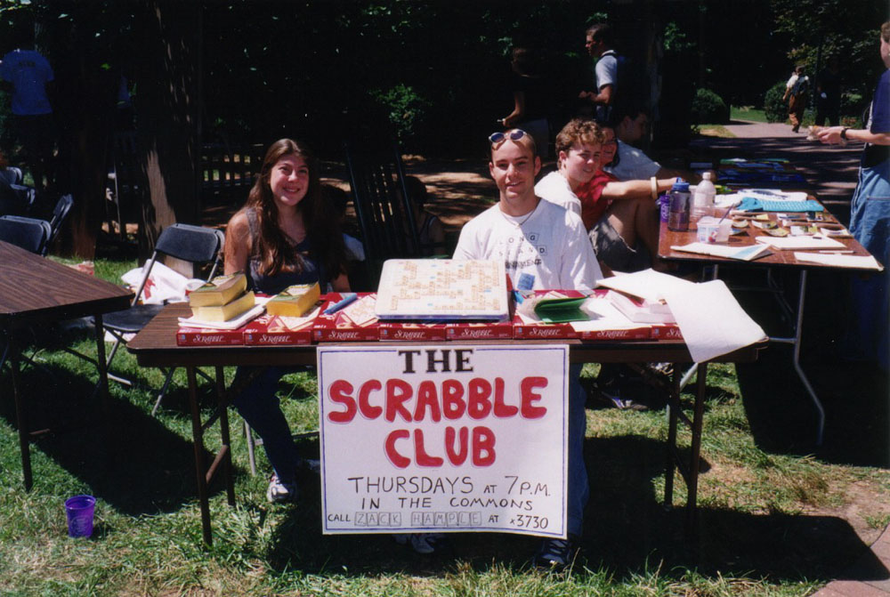 promoting my Scrabble club with Alli at the activities fair