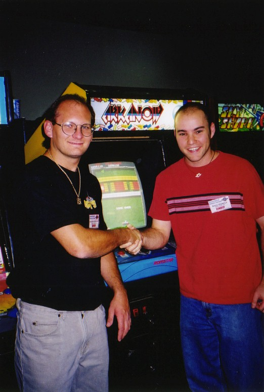 previous Arkanoid champ Steve Krogman congratulating me