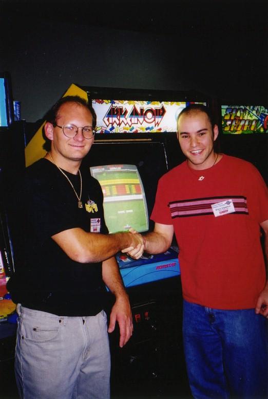 previous Arkanoid champ Steve Krogman congratulating me