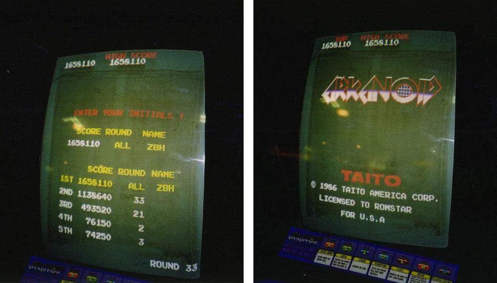 screen shots of my Arkanoid world record