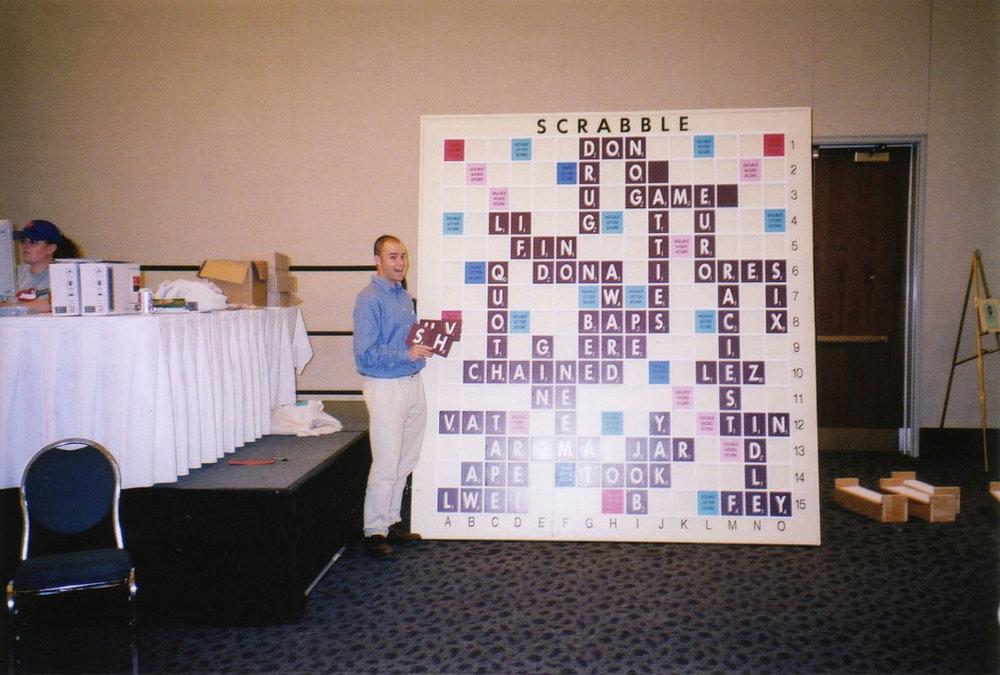after-hours action on the biggest Scrabble board in the world