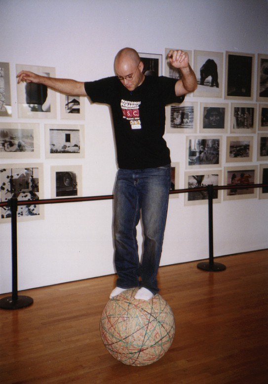 with my rubber band ball at the Queens Museum of Art
