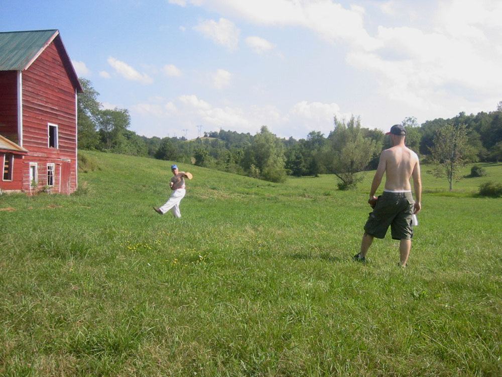 playing catch with my dad in upstate NY