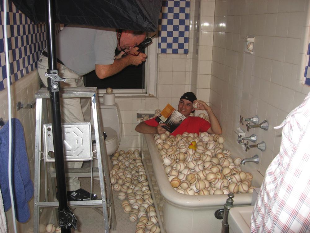 recreating the bathtub scene for Sports Illustrated