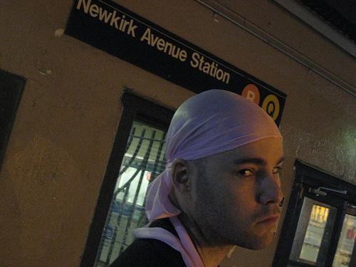 forced by my friends to wear a pink du-rag