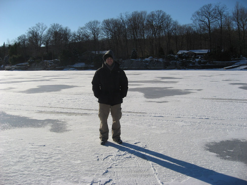 on a frozen lake in Putnam Valley, NY