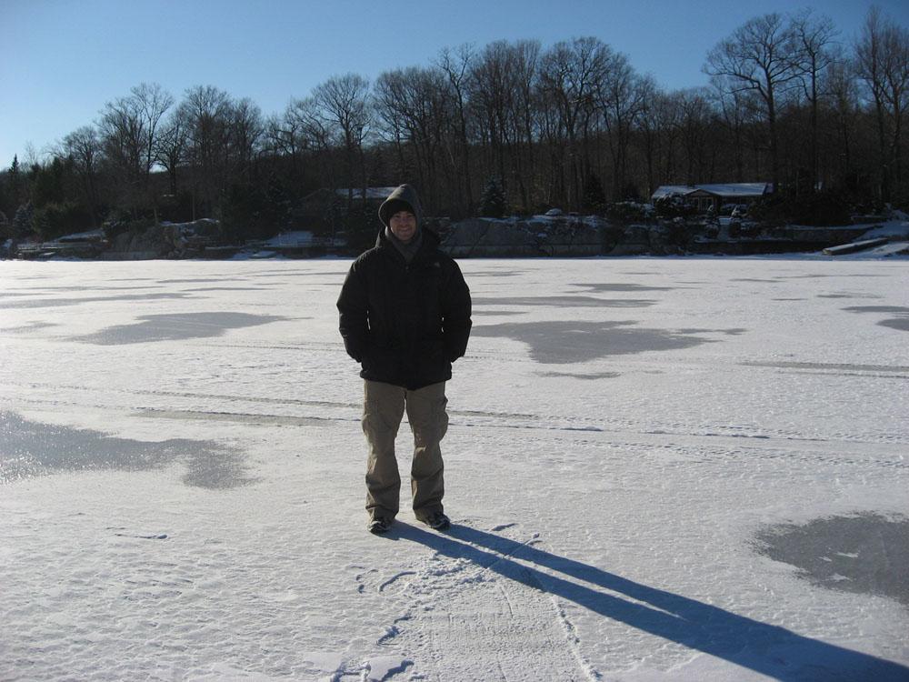 on a frozen lake in Putnam Valley, NY