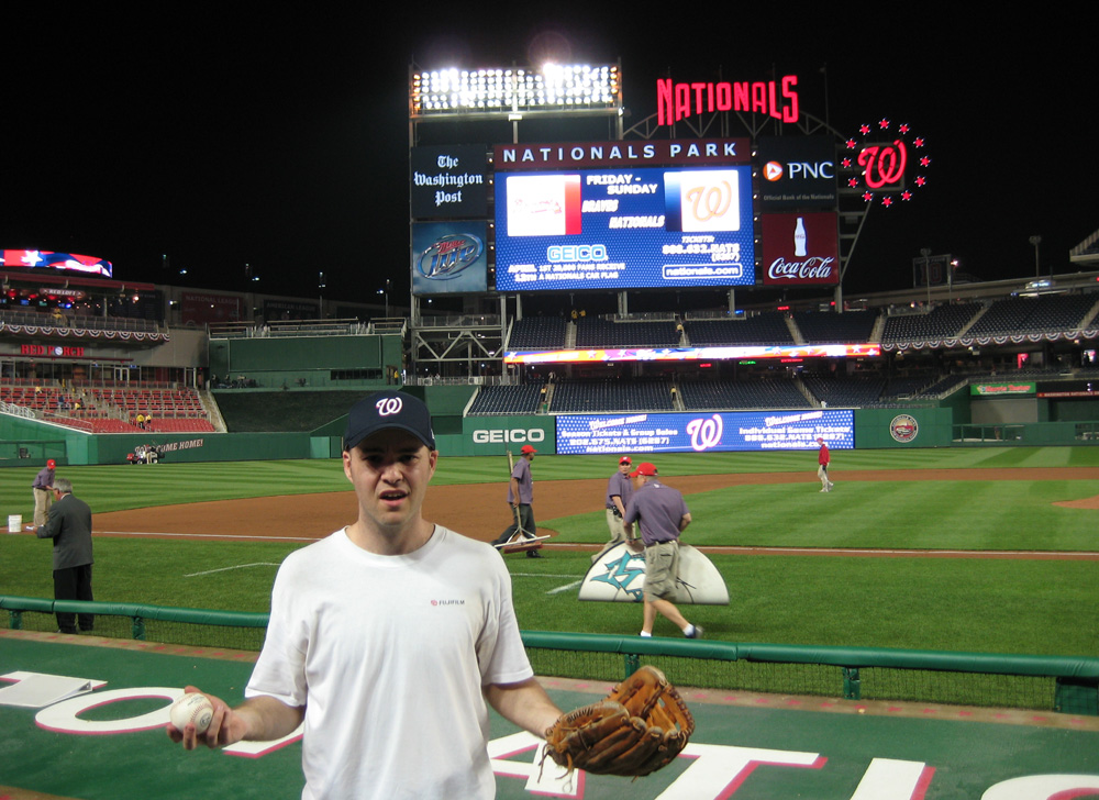 at Nationals Park with my 28th ball of the day (?!)