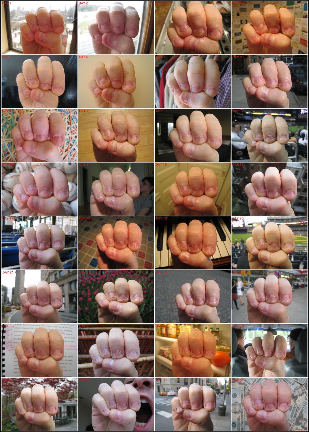 month-long transformation of my fingernails