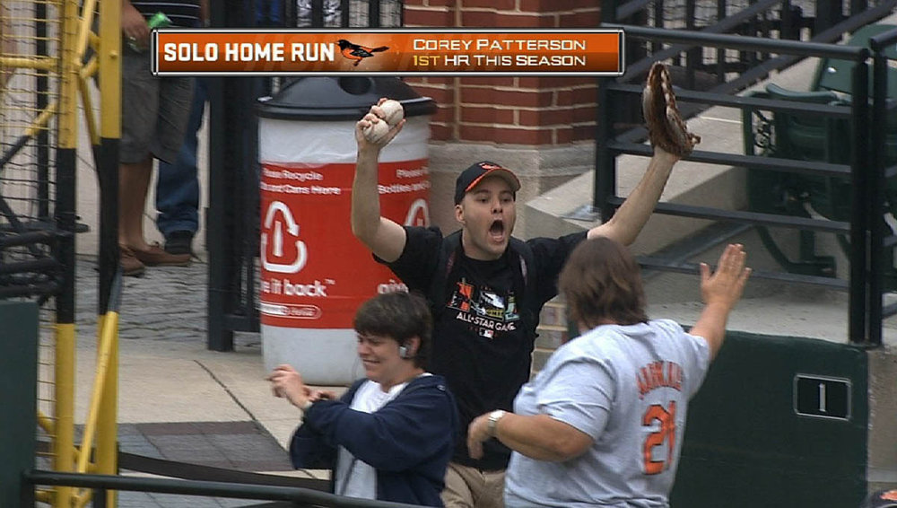 celebrating at Camden Yards after snagging two home runs