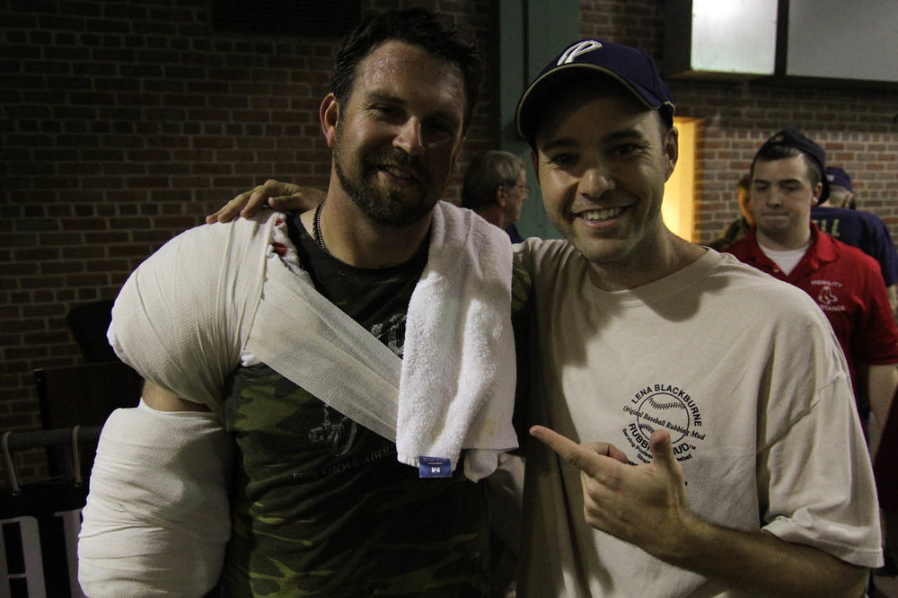 with Heath Bell post-game at Fenway Park
