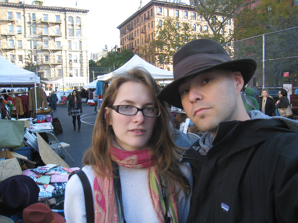 with my girlfriend Robin at a flea market