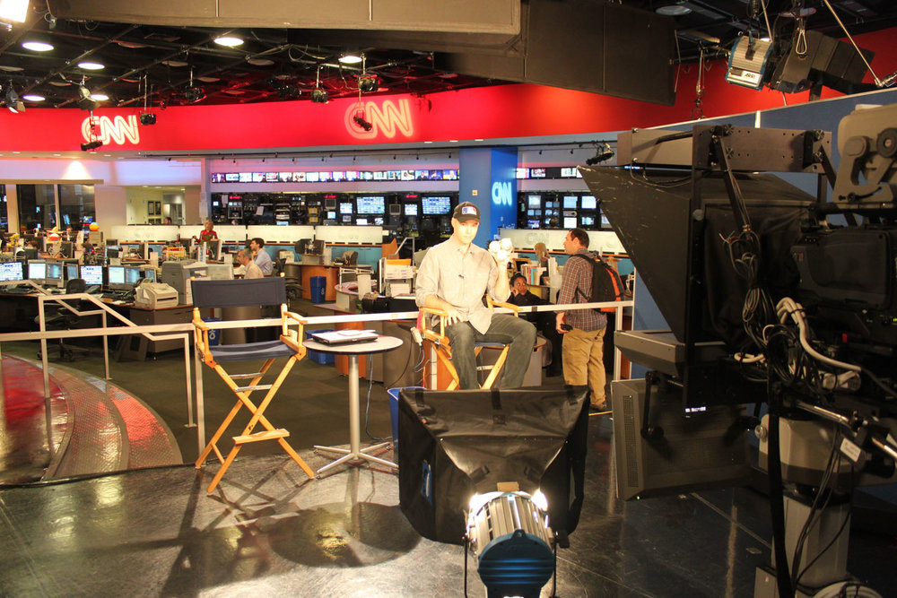 about to be interviewed in the CNN newsroom