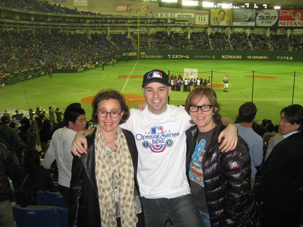 with my mom and Martha at the Tokyo Dome for MLB's Opening Series between the Mariners and A's