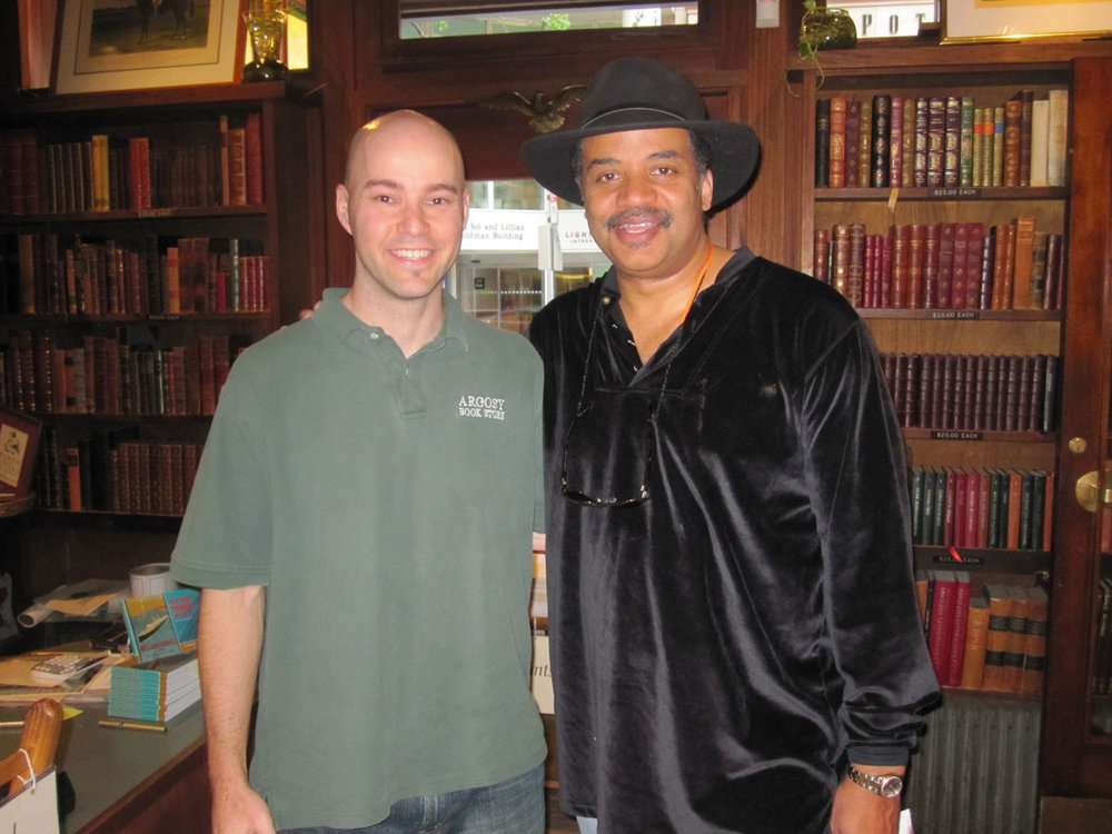 with Neil deGrasse Tyson at the Argosy Book Store