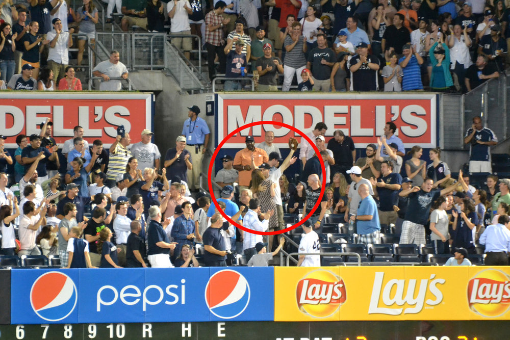 making out with Robin after catching a Raul Ibanez home run