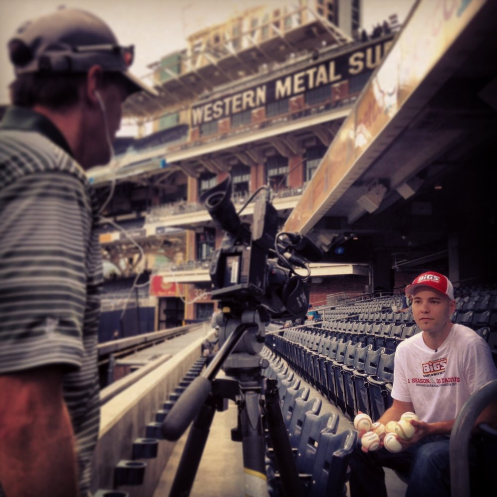 local TV interview at PETCO Park