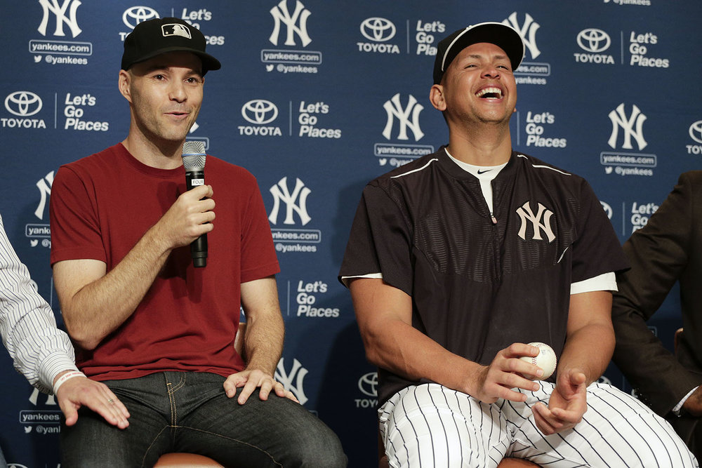 making A-Rod laugh *and* getting my thigh rubbed at the press conference