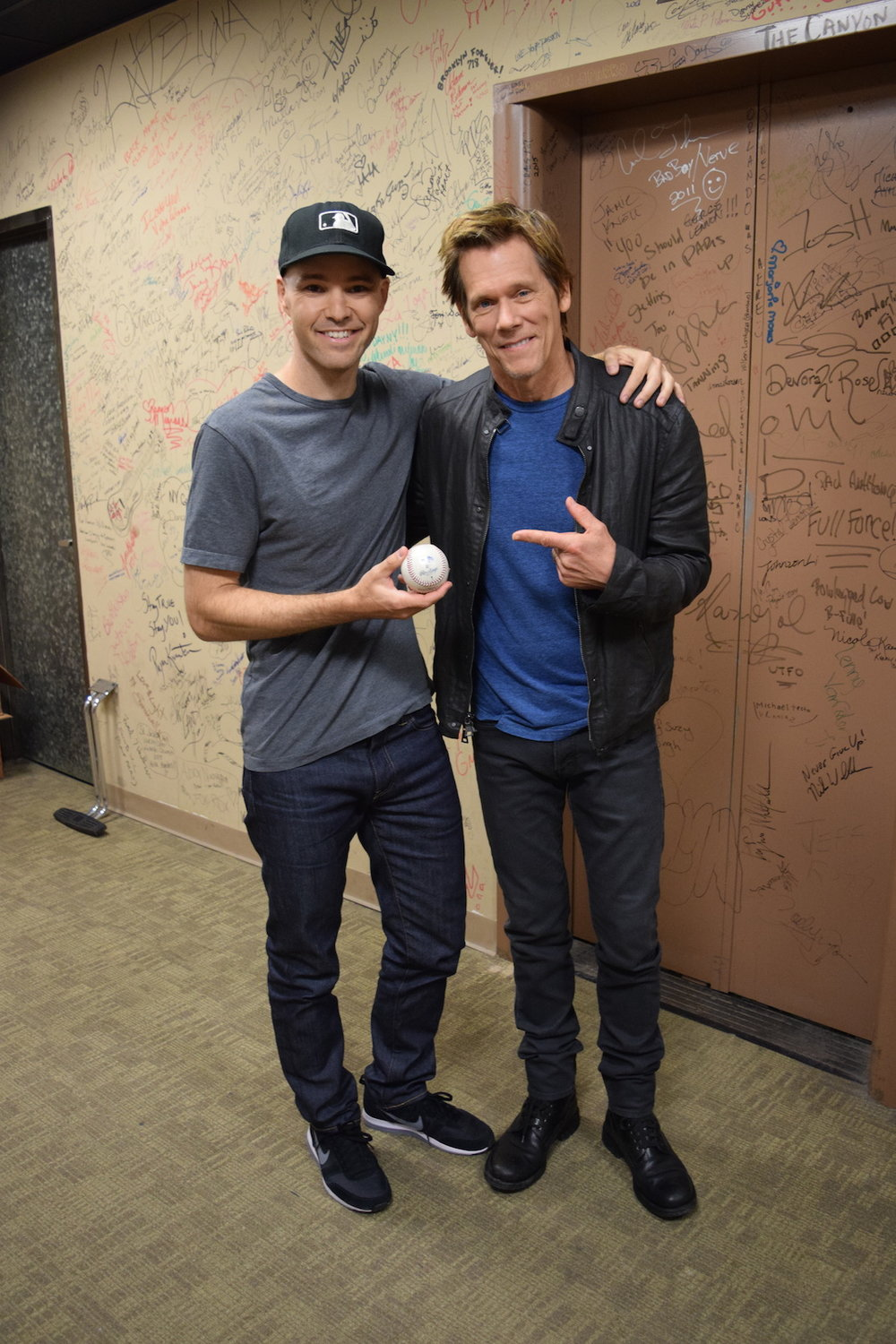 """with Kevin Bacon at the """"Good Day NY"""" studio"""