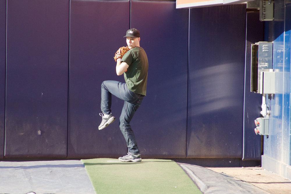 bullpen session at Yankee Stadium