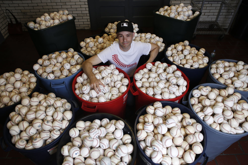 with approximately 6,400 baseballs