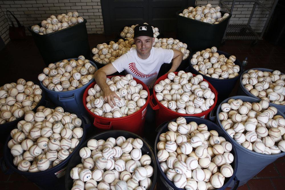 with approximately 6,400 baseballs