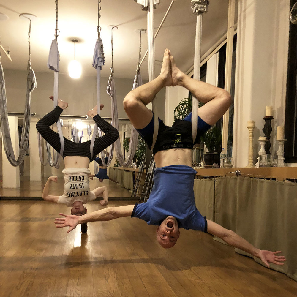 "at an ""anti-gravity flying fitness"" class"