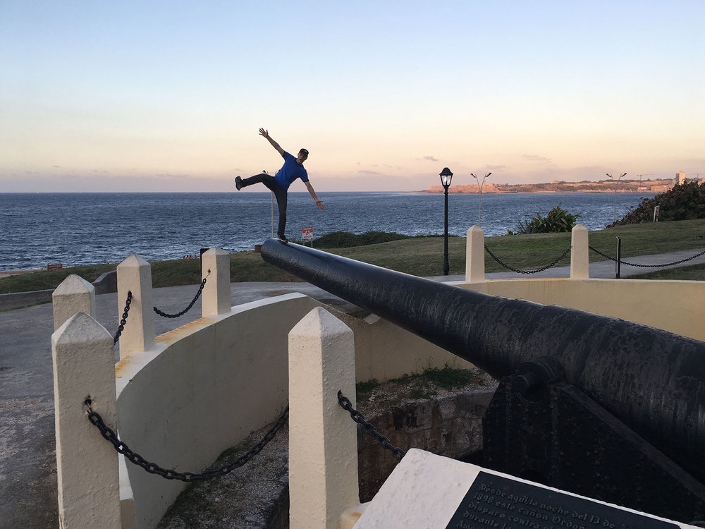 on a huge cannon in Havana, Cuba