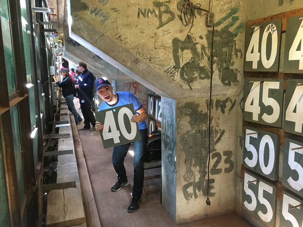 inside the Green Monster at Fenway Park