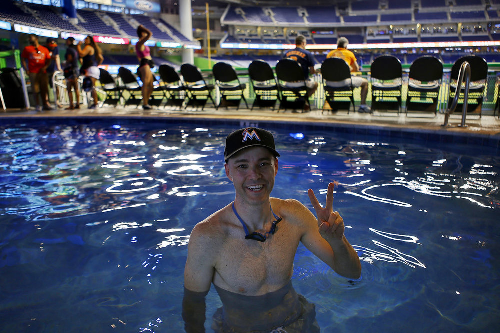 in the pool at Marlins Park