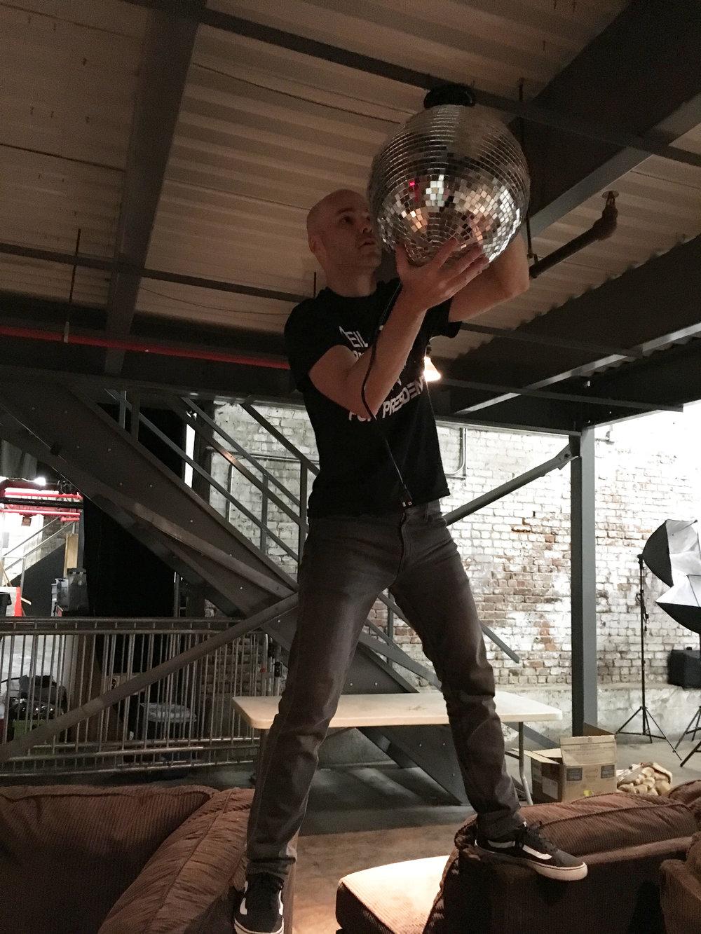 hanging a disco ball