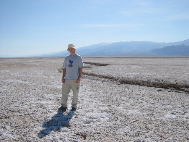 posing less dramatically on the salt flats of Death Valley