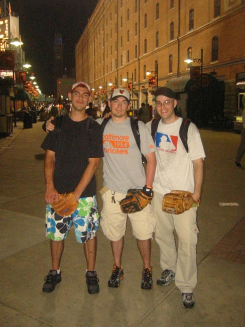at Camden Yards with my friend Sean and his friend Joe