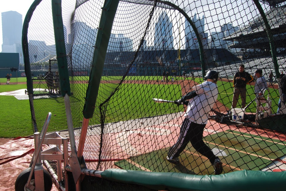 taking batting practice at PNC Park