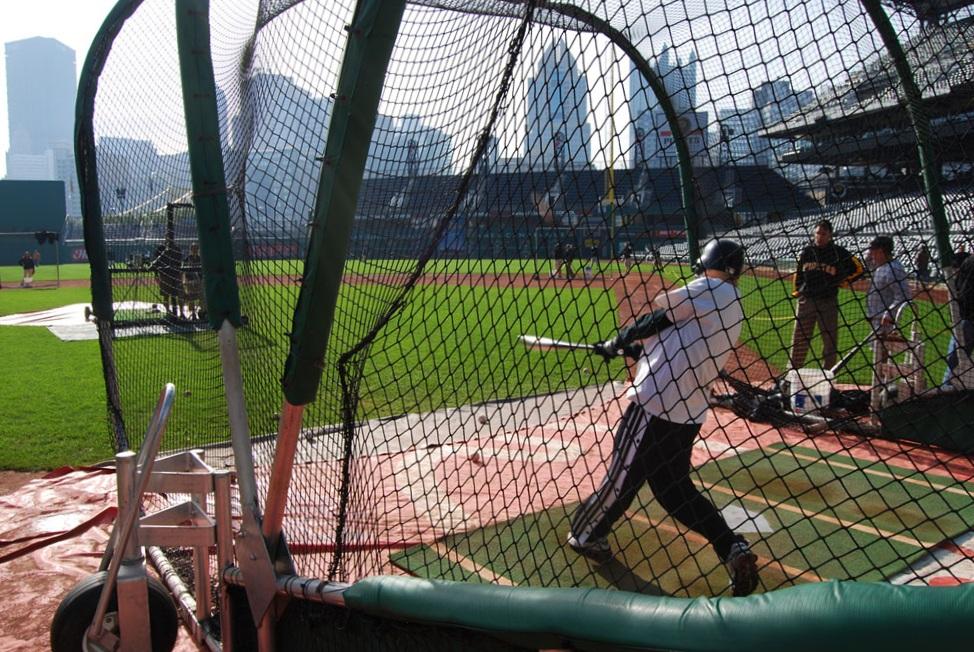 taking batting practice at PNC Park