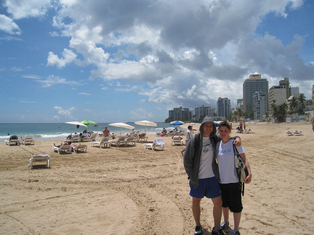 with Jona at the beach in Puerto Rico