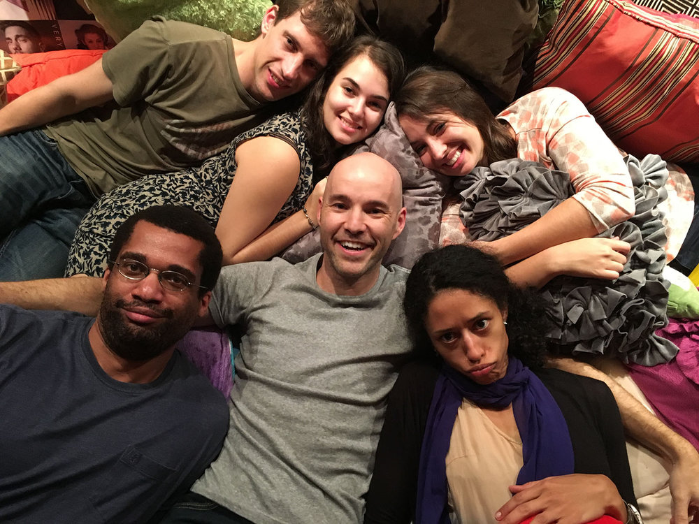 with friends in my huge pillow pile