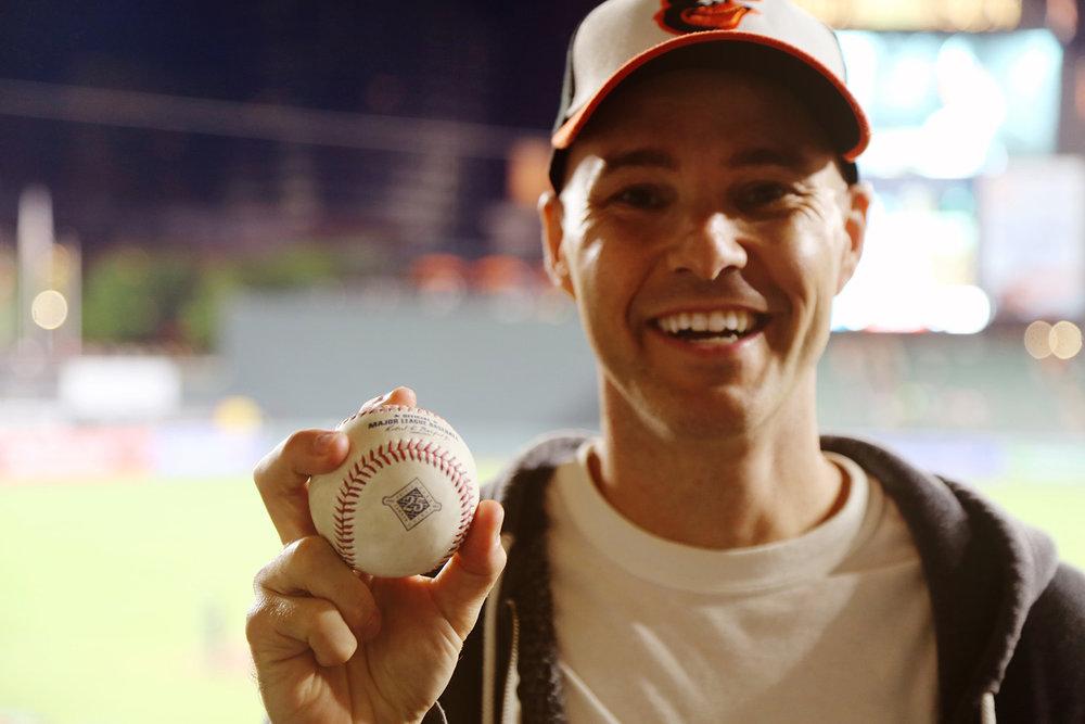 with my 10,000th baseball at Camden Yards