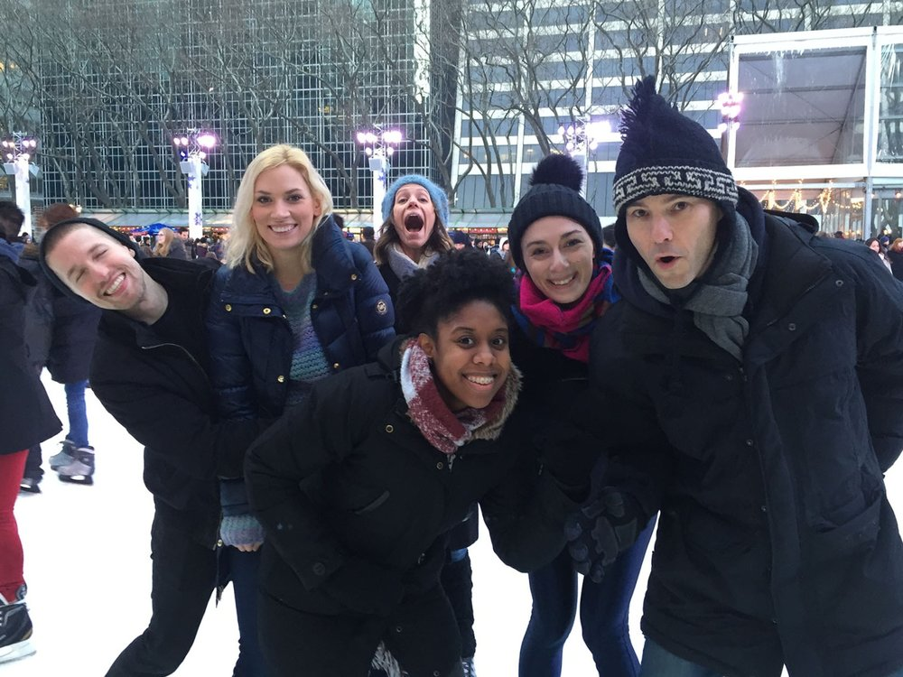 ice skating with friends at Bryant Park