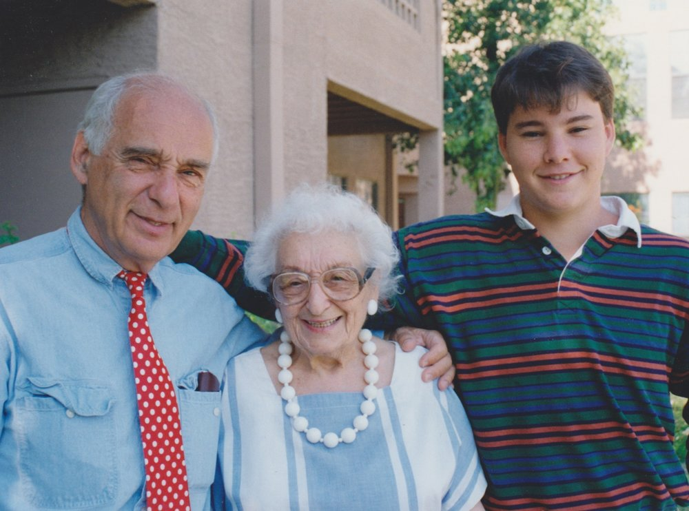 with my dad and his mother, Helen