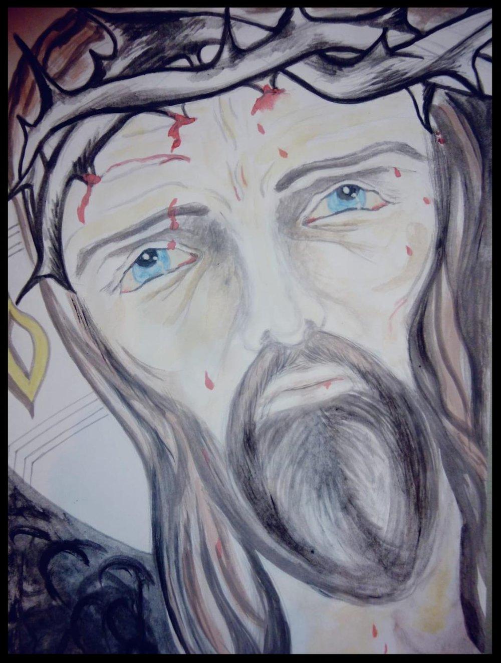 - JESUS IN PAINWATERCOLOR AND PENCIL30 CM X 22 CM