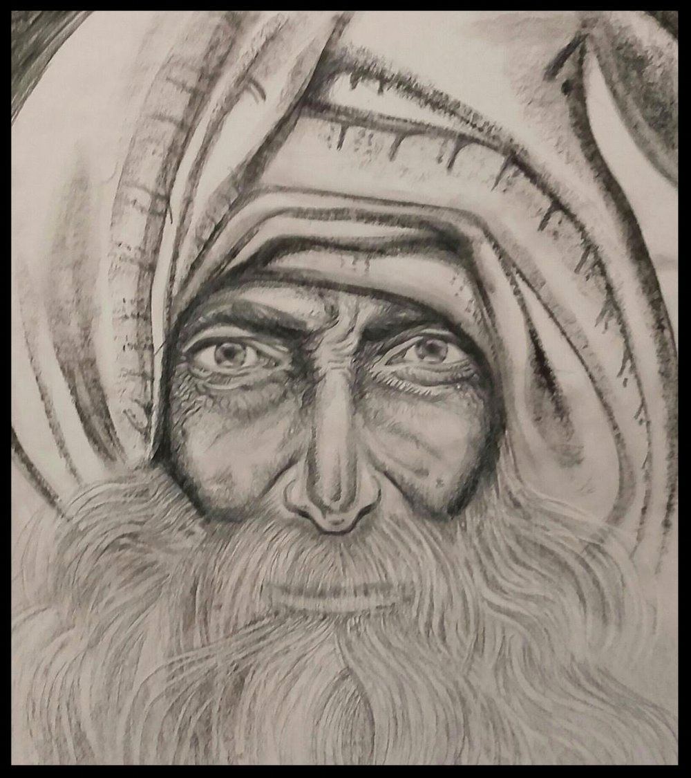 - OLD MANPENCIL AND CHARCOAL48 CM X 33 CM