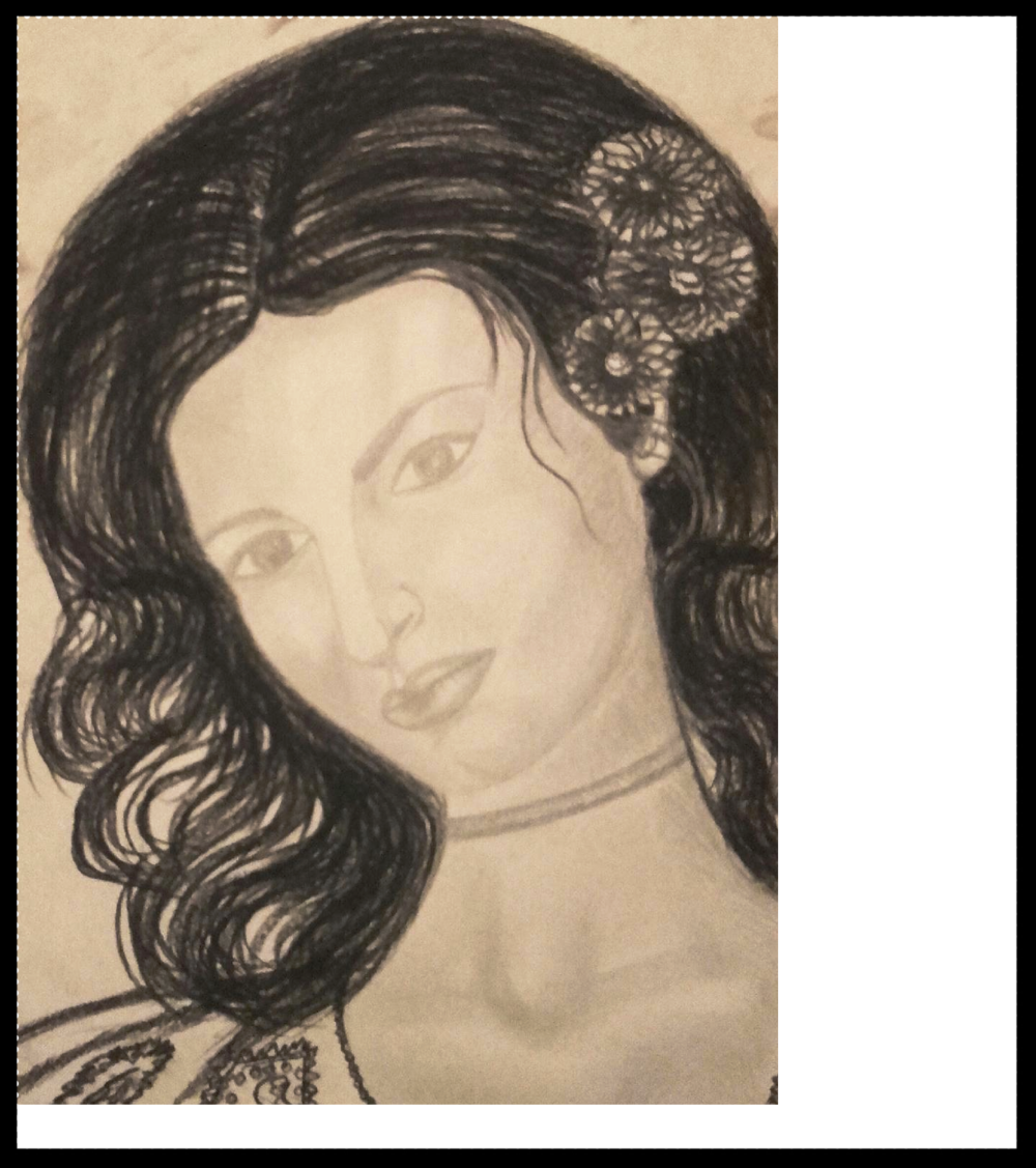 - GIRL PORTRAITPENCIL AND CHARCOAL