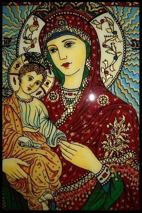 MADONNA WITH LITTLE JESUS    GLASS PAINTING