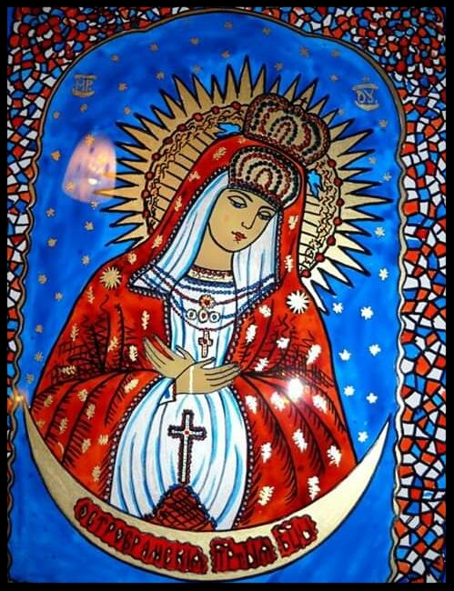 MOTHER OF GOD    GLASS PAINTING