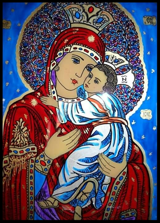 MADONNA WITH BABY JESUS    GLASS PAINTING