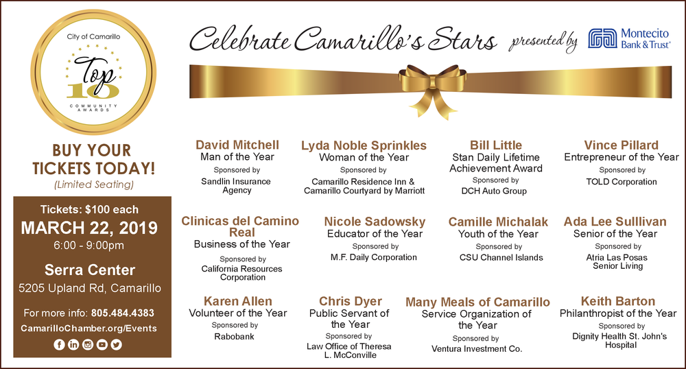 Top 10 Stars! -  Top Ten - 52nd Annual Community Awards Gala                    Many Meals of Camarillo               Service Organization of the Year                 Serra Center on March 22, 2019                       6:00pm - 9:00pm