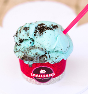 Blue vanilla ice cream layered with chocolate cookie crumbles and chocolate chip cookies.