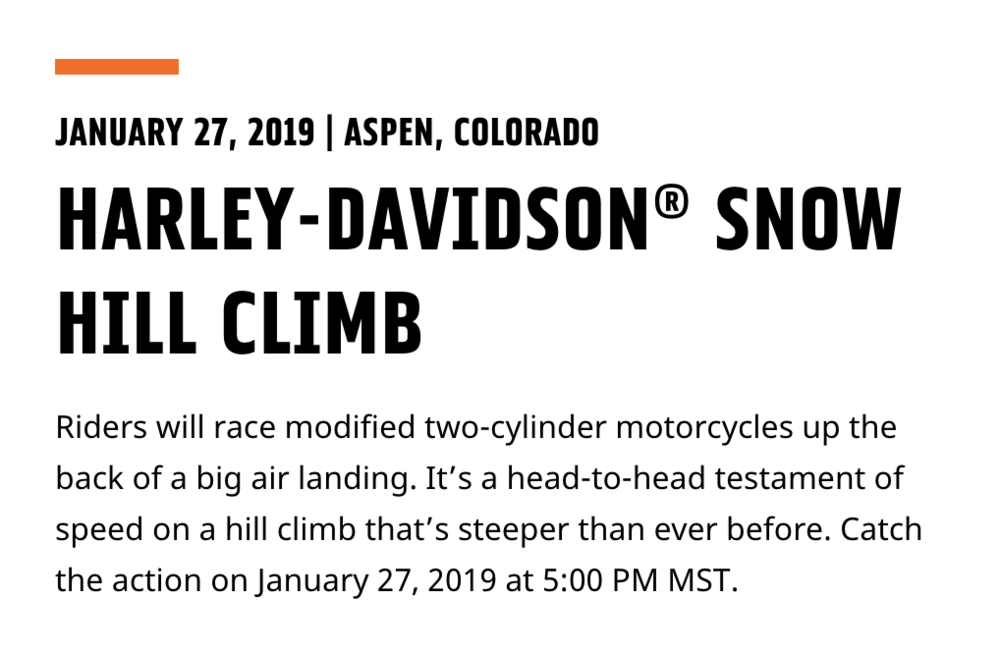 Snow Hill Climb H-D X Games Aspen Snow Hill Climb 2019